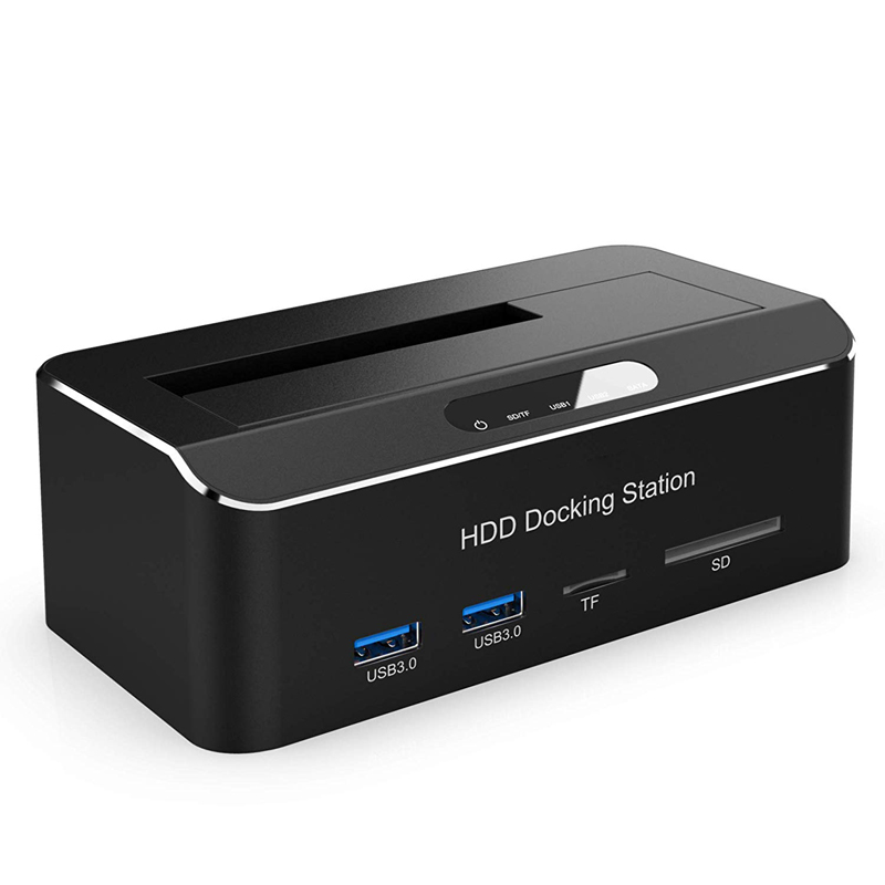 Tool Free USB 3.0 To SATA External Hard Drive Docking Station With 2-Port Hub And Card Reader For 2.5/3.5 Inch HDD SSD SATA III