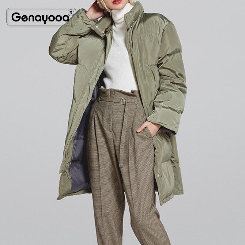 Genayooa haute qualité chaud vers le bas Parka femmes hiver manteau Long rose bureau hiver manteaux 2019 mode haute qualité femme vestes