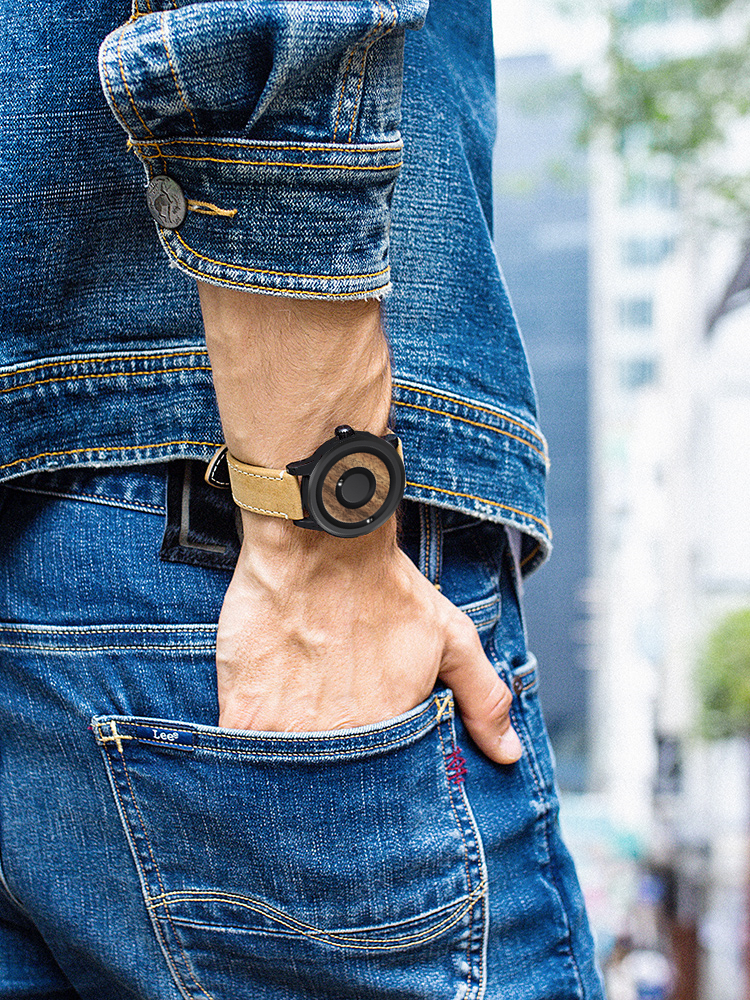 Eutour minimalista novidade discagem de madeira relógio