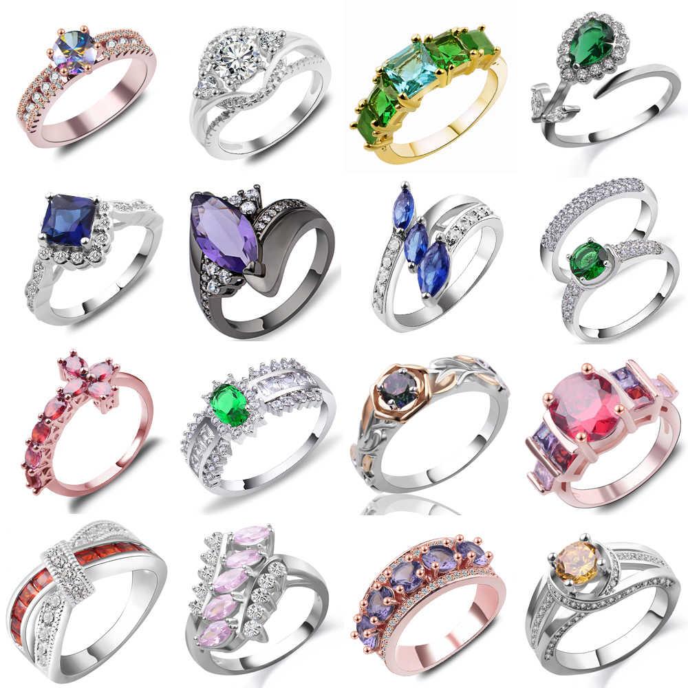ผู้ขายการจัดส่งแบบสุ่มผสมสีขนาดแหวนทองแดงสำหรับหัวใจผู้หญิงโบว์ดอกไม้ Crown CROSS Cubic Zirconia แหวน Bijoux