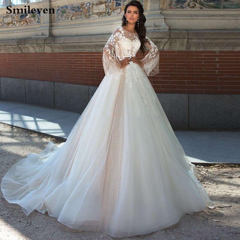 Smileven Princess Wedding Dress Flare Sleeve Appliqued Lace Bridal Dresses Backless Vestido De Noiva Corset Wedding Gowns