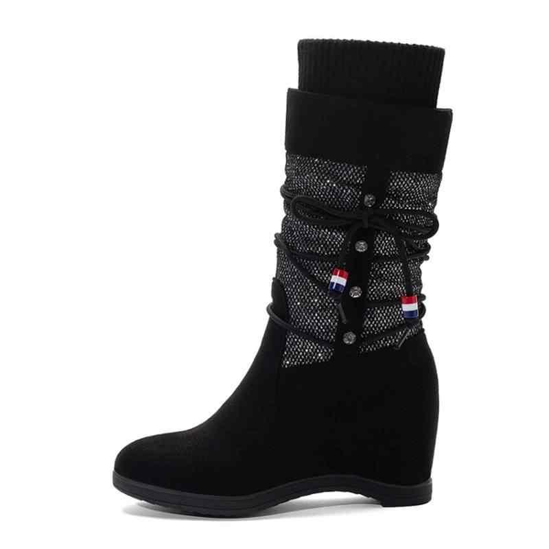 REAVE KEDI Kadın Düz Orta Buzağı Çizmeler Yuvarlak Ayak Patchwork Faux süet Kayma Nubuk Yün Çorap Çizmeler Akın boyutu 33-43 Siyah Bej