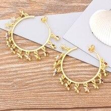 Classic Fashion Big Circle Drop Earrings Copper CZ Charm Star Shape Rainbow Earrings For Female Party Wedding Christmas Jewelry star cz drop earrings