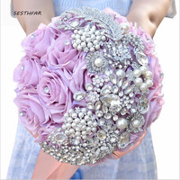 Wedding Bridesmaid Bouquets Crystal Bouquet Bridal Bride'S Pearls Jewelry Silk Roses Bouquet Wedding Accessories SPH067