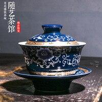 Prata conjunto de chá 999 prata pura jingdezhen jilan grelhado flor dourada trinity chá tigela pintados à mão ouro coberto tigela cus