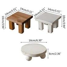 T5EC Newborn Small Coffee Table Baby Photo Shooting Handmade Wooden Little Tea Desk