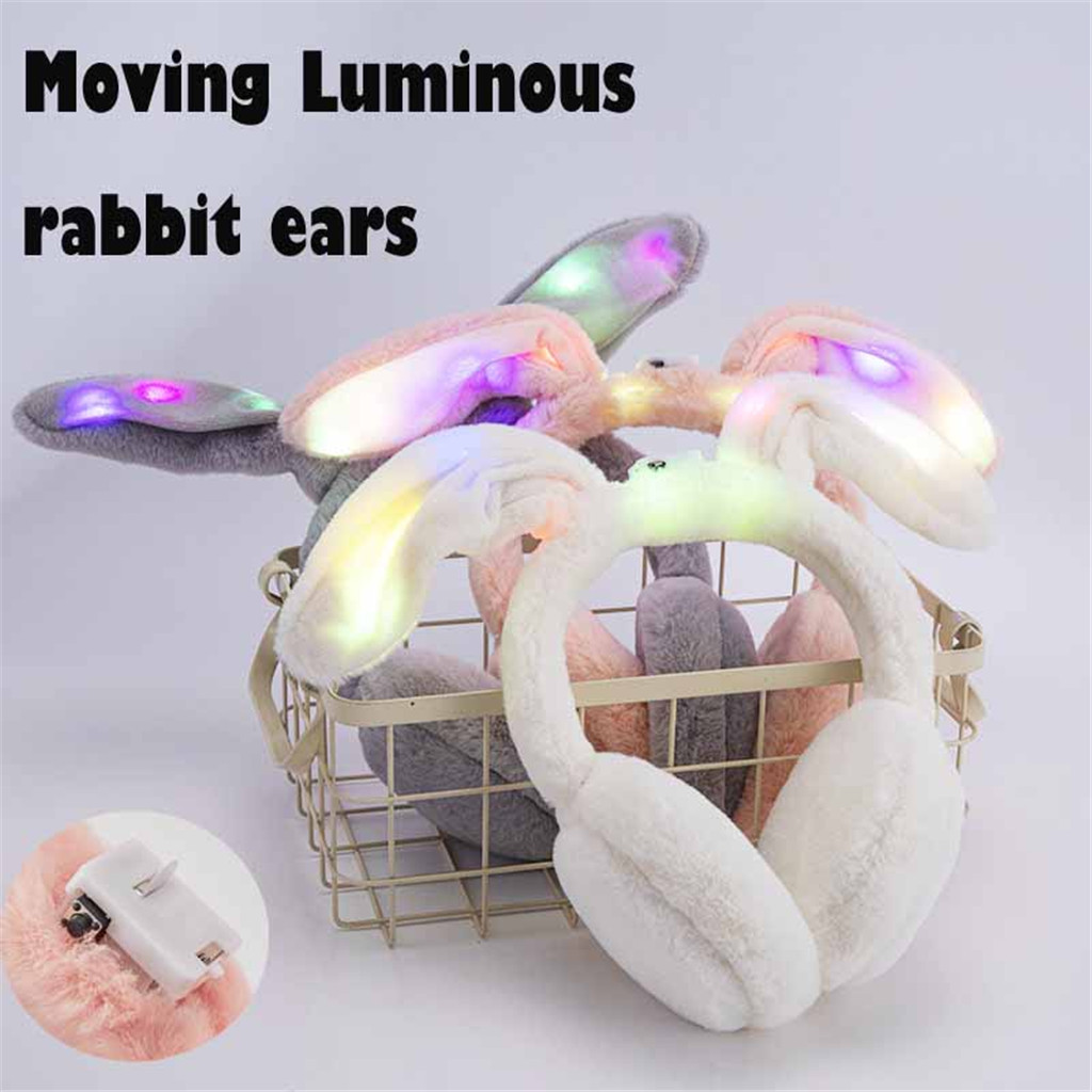 Winter 2020 Women Funny Winter Earmuffs Faux Fur Lighted Rabbit Ear Warmer Plush Party Dropshipping China USA Ins Wind Fas