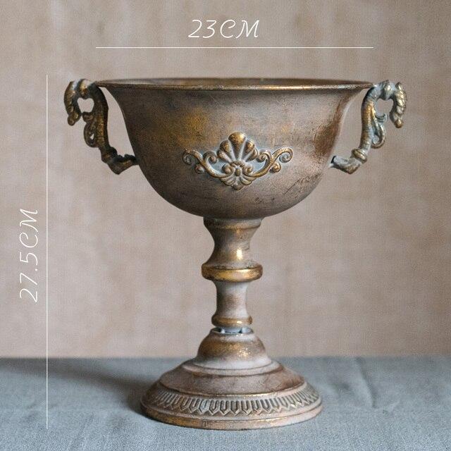 Vintage Old Wrought Iron Vase Flower Home Furnishing Golden Silver European Flower Pot  Goblet Classical Floral Decoration 6