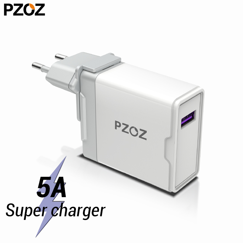 PZOZ 5A Super charger EU Plug Adapter For <font><b>Huawei</b></font> P20 p10 mate 20 pro 10 lite Honor fast charge USB charger 5V/4.5A <font><b>Supercharge</b></font> image