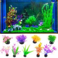 1pc plástico artificial planta de água grama decorações do aquário plantas tanque de peixes grama ornamento flor decoração acessórios aquáticos
