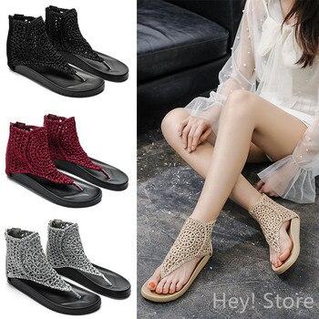 Sandalias Vintage de cuero auténtico para mujer, chanclas de verano, zapatos informales de talla grande 35-42, zapatos planos para mujer, Sandalias Retro para playa