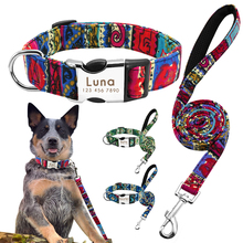 Leash-Set Dog-Collar Custom-Printed Dogs Small Large Personalized And Nylon