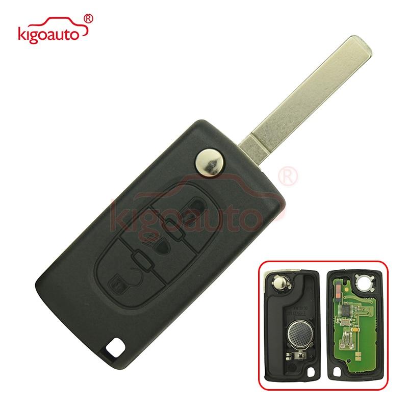 Flip remote key 3 button VA2 434Mhz for Peugeot 307 flip