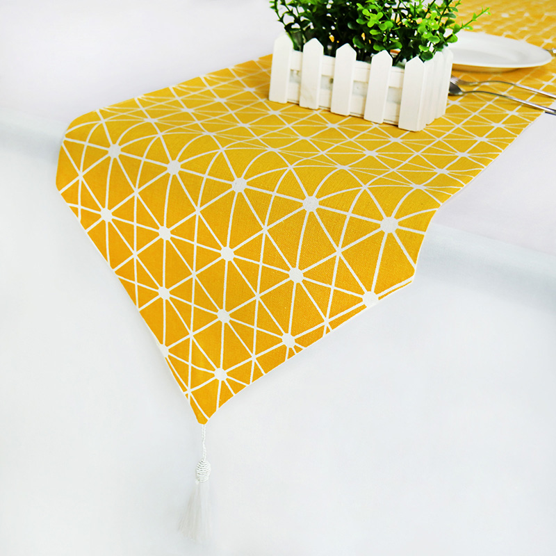 Table Runner Modern Lemon Yellow With Tassel Linen+Cotton Fabric Table Top Decoration Home For Home Wedding Christmas Party