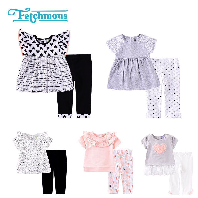 2020 Baby Girl Dress+Pants 12M 18M 24M Baby Set Outfits Short Sleeve Clothing Sets 100%Cotton O-Neck Baby Girl Clothes Ropa bebe 1