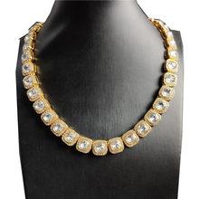 Collier chaîne de tennis pour hommes et femmes, couleur argent, pierre carrée, style Hip hop, chaîne scintillante, bijoux Hip Hop