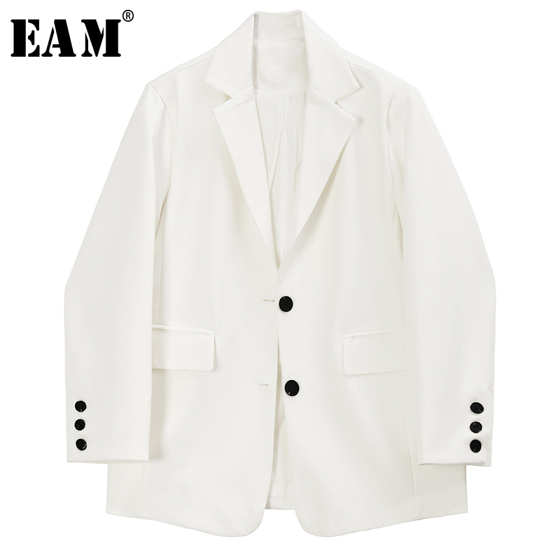 [EAM]  Women White Single Breasted Temperament  Blazer New Lapel Long Sleeve Loose Fit  Jacket Fashion Spring Autumn 2020 1R973