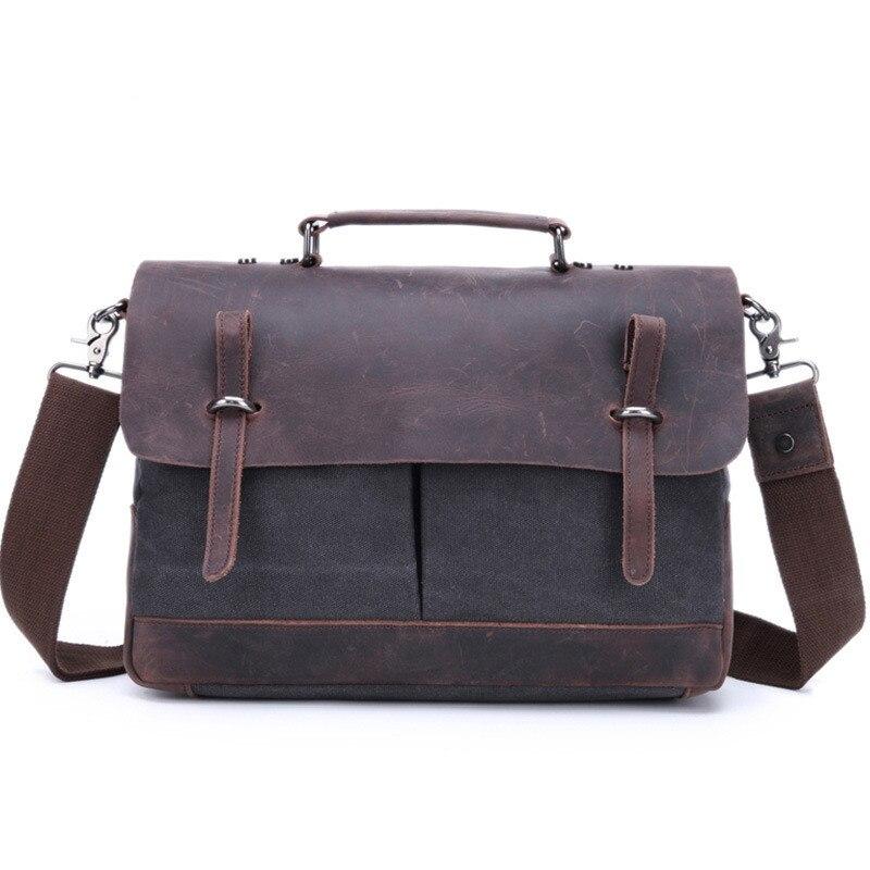 Briefcase For Men 17 Inch Laptop Leather Vintage Batik Cloth Satchel Shoulder Bags Business Briefcase For Men