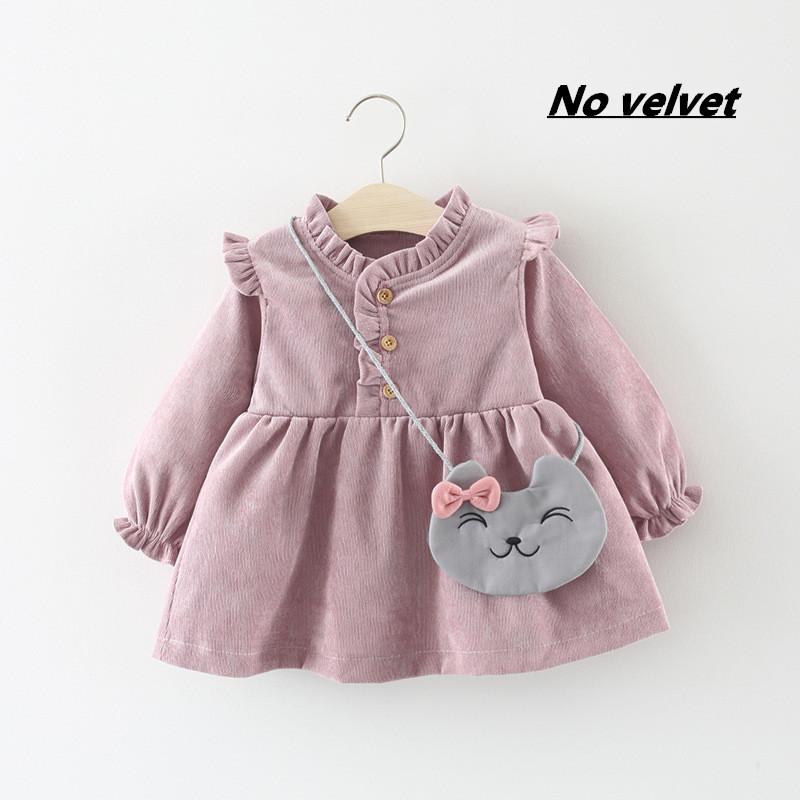 Baby Clothing 2020 Fall spring Wear Thick warm Baby Girls Princess Dress Velvet long-sleeve dress Party Dresses Baby Clothes 1