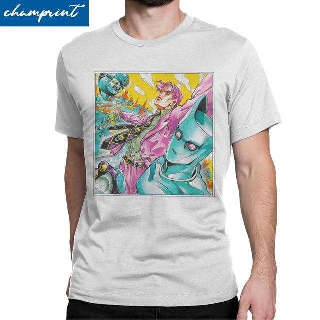 Vintage JJBA Kira Queen T-Shirts for Men O Neck T Shirts Jojos Bizarre Adventure Anime Jjba Manga Tee Shirt Plus Size Clothing
