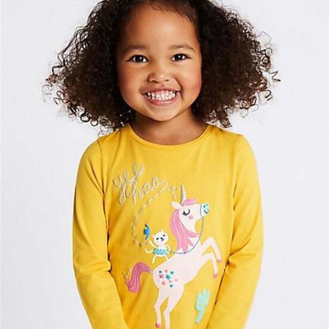 Jumping meters 2020 Unicorn Girls Long Sleeve T shirts 100% Cotton Tops Children Animals Clothing Autumn Spring T shirts Kids 5