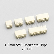 10 pces jst sh 1.0mm conector smd tipo horizontal soquete 2 p 3 p 4 p 5 p 6 p 7 p 8 p 9 p 10 p 11 p 12 p entrada lateral fio-à-placa receptáculo