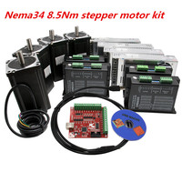 3 Axis CNC kit Nema 34 1230Oz in/6A 86HS4802 8.5Nm Stepper Motor & 6A/110VDC Microstep motor driver for CNC Milling Machine