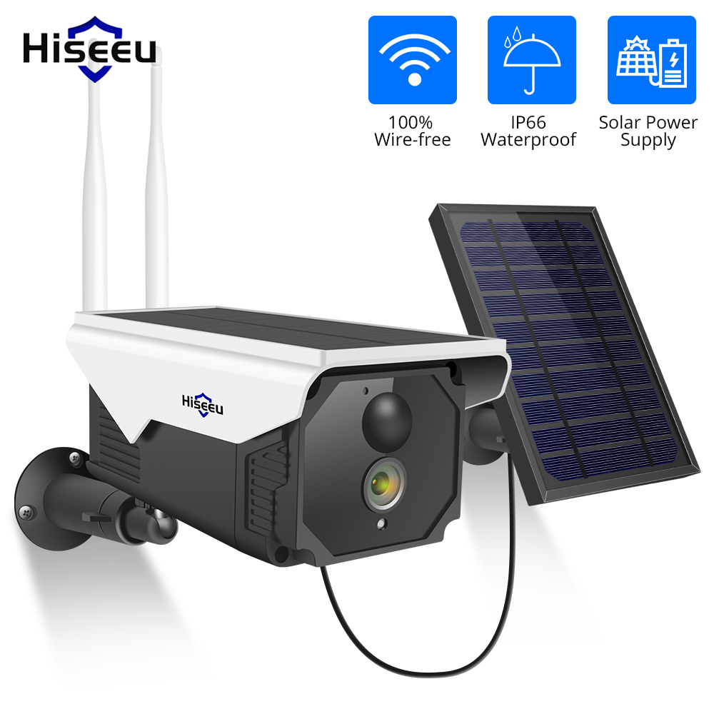 Hiseeu 1080P Wireless Battery IP Camera WIFI 2MP Waterproof Outdoor Rechargeable Securtiy IP Camera With Solar Panle PIR Detect