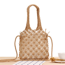 Hollow Woven Bag New Pure Color Hand Carrying Cross Body Dual Purpose Bags Mori Cotton Rope Net Bag Holiday Beach Bags