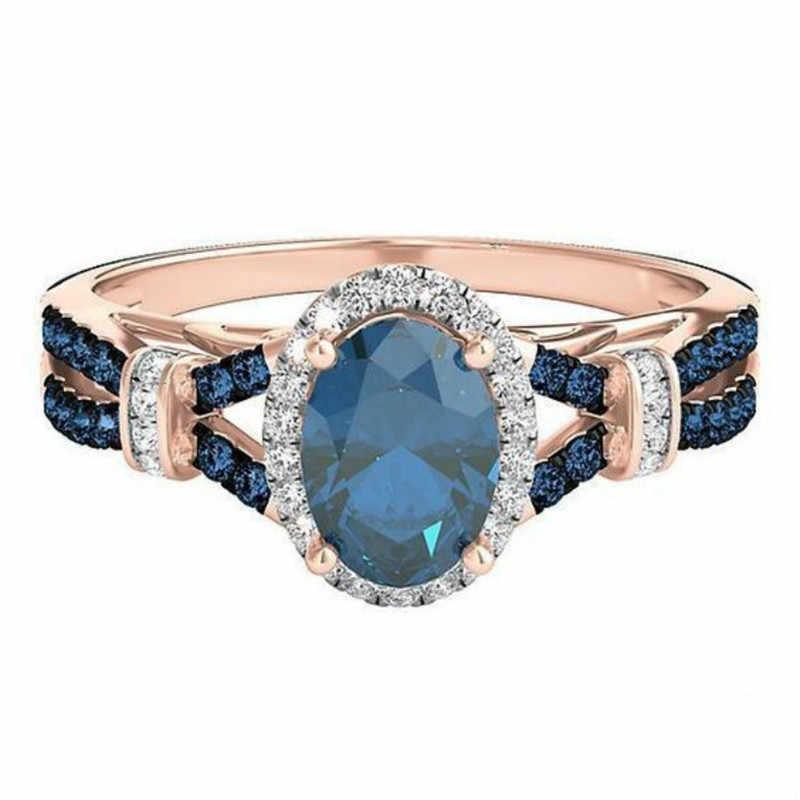 Luxury Femme Sapphire Rose Gold ห่อแหวน Zircon สำหรับของขวัญผู้หญิง Party Bijoux หมั้นงานแต่งงานแหวนเครื่องประดับ