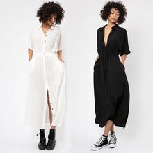 Cotton Beach Kaftan Bikini Cover Up Beachwear Kimonos Verano Button Long Dress