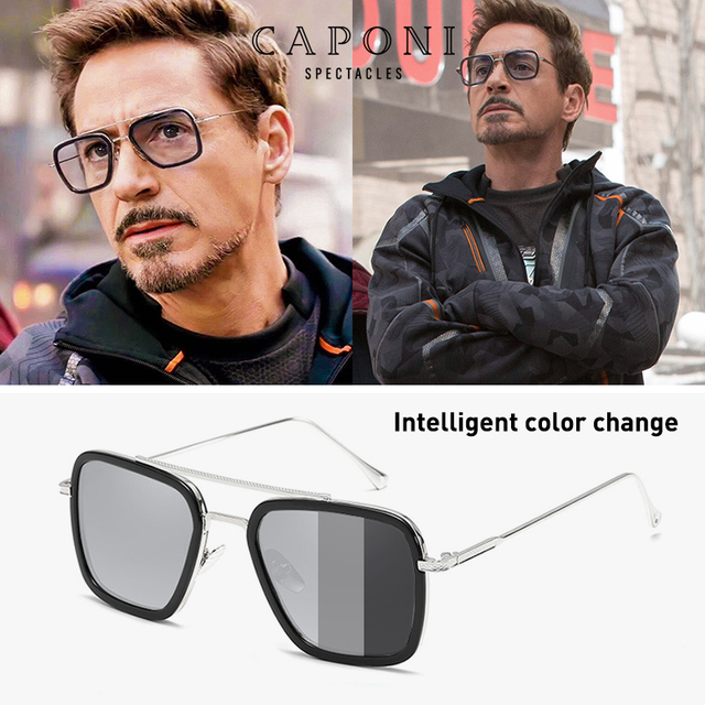 CAPONI גברים כיכר משקפי שמש Photochromic טוני סטארק איש ברזל בציר Eyewear מקוטב אופנה גוונים לנשים UV400 BS6618