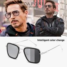 CAPONI mężczyźni kwadratowe okulary fotochromowe Tony Stark Iron Man Vintage okulary spolaryzowane odcienie mody dla kobiet UV400 BS6618