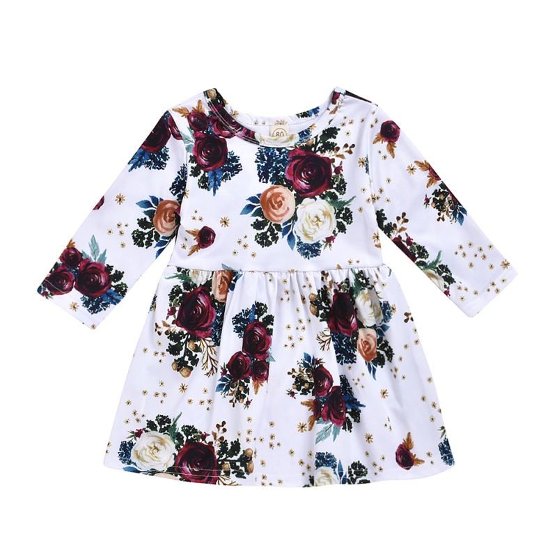 Cute Toddler Girl Baby Dress Long Sleeve Princess Party Pageant Kids Clothes US