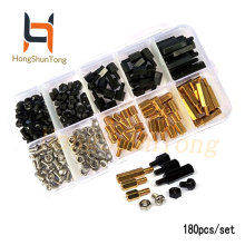 180pcs/set M3 Brass and Nylon Spacer Standoff / Screw Nut Male Female PCB Board mix Assortment Kit Black 3mm
