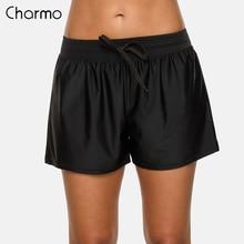 Charmo Women Swimming Trunks Loose Fit Solid Color Bikini Bo