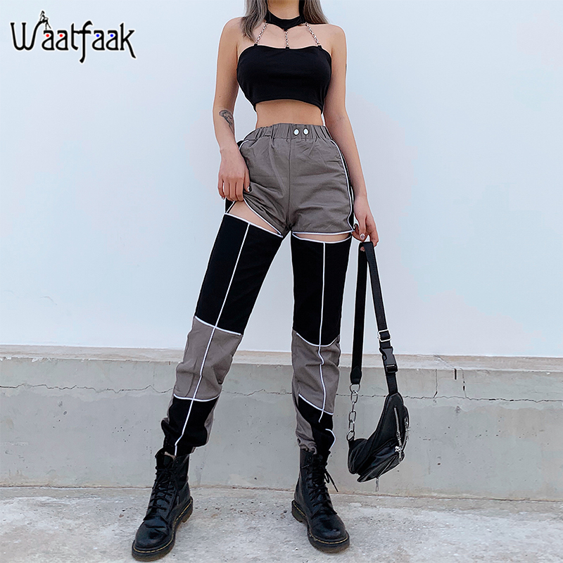 Waataak Hollow Out Contrast High Waist Cargo Pants Female Striped Patchwork Elastic Waist Streetwear Pencil Trousers Women 2020