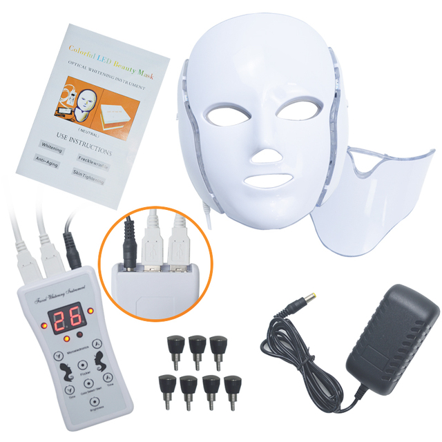 LiCheng LED Facial Mask Beauty Skin Rejuvenation Photon Light 7 Colors Mask with Neck Therapy Wrinkle Acne Tighten Skin Tool 5