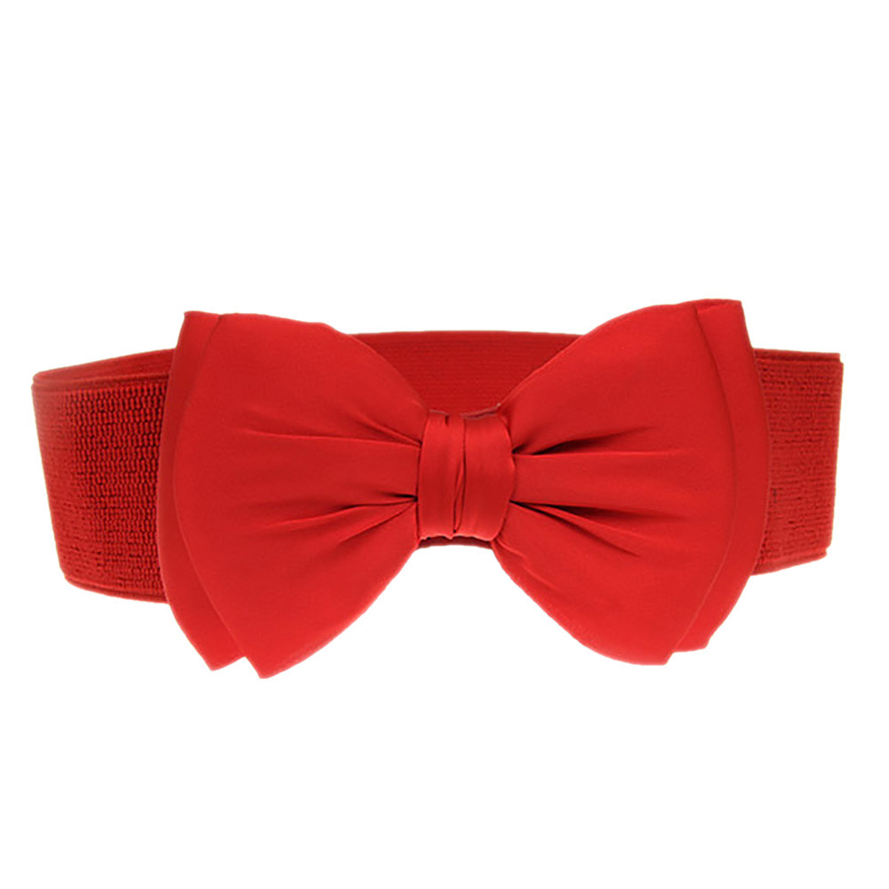 Women's Fashion Bowknot Waistband Wide Elastic Stretch Waist Belt Versatile Decorative Dress Waist Belt