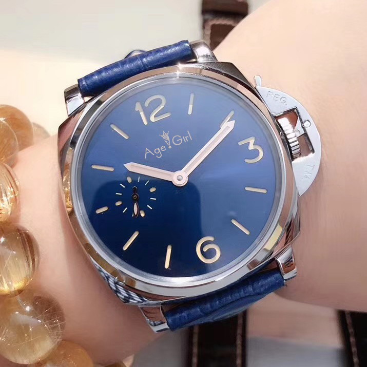 Luxury Brand New Lady Women Silver Black Leather Automatic Mechanical Sapphire Stainless Steel Blue Dial Sport Due Watches AAA+