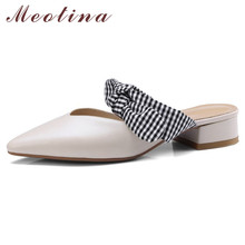 цена Meotina Real Leather Mid Heel Mules Shoes Bow Women Shoes Pointed Toe Block Heels Footwear Ladies Summer Beige Black Big Size 40 онлайн в 2017 году