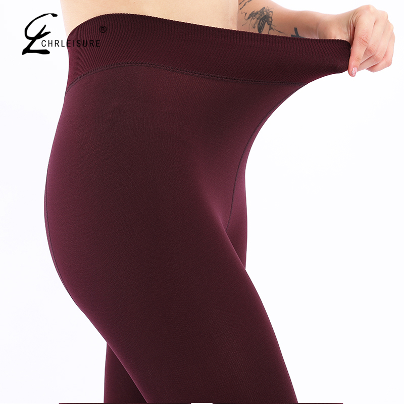 CHLEISURE kadınlar kış sıcak tayt yüksek bel kadife kalın Legging moda katı büyük boy sonbahar tayt S-XL 8 renk