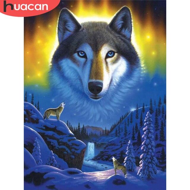 HUACAN 5D diamant peinture loup plein carré/rond diamant broderie hiver mosaïque Animal strass photo décor à la maison