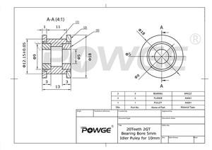 Image 5 - Powge 5Pcs 2M 2GT 20 Tanden Synchronou Spanrol Boring 5Mm Zwart Met Lager Voor GT2 Open riem Breedte 10Mm 20 Tanden 20 T Wiel