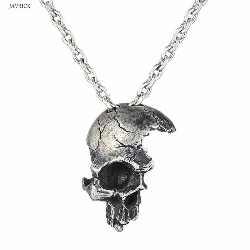 JAVRICK Halloween Punk Vintage Necklace Silver Half Broken Skull Head Pendant Necklaces Jewelry Accessories For Women
