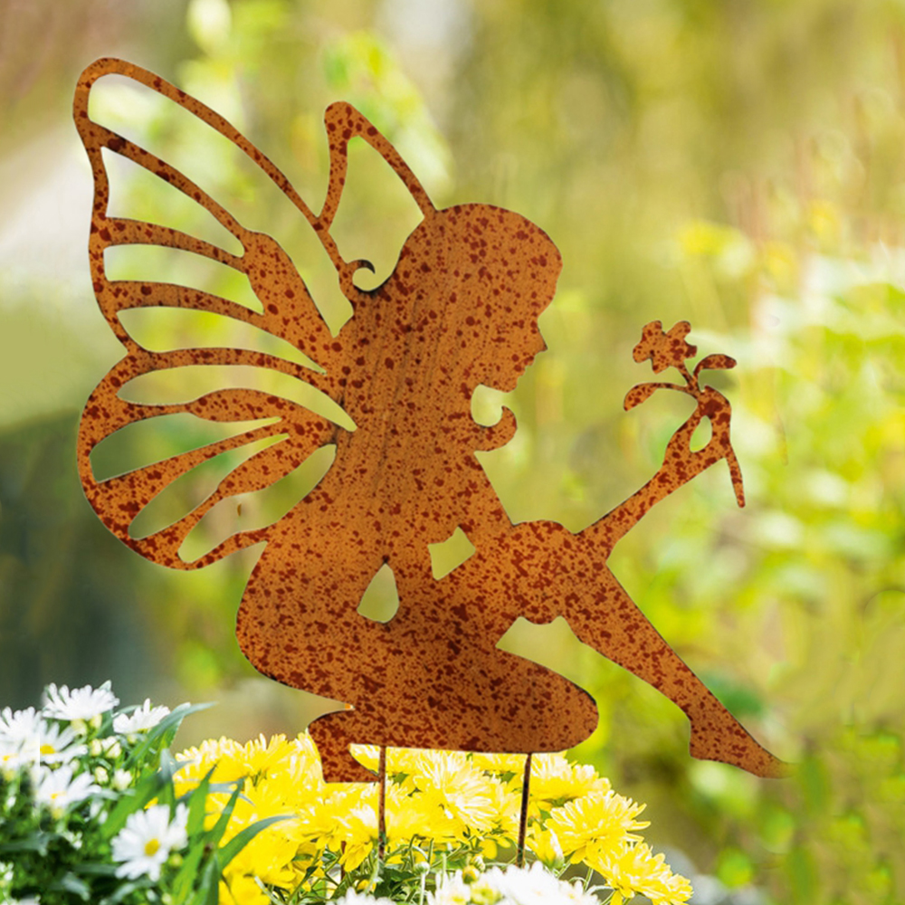 Rooster Garden Stake Outdoor Metal Planter Decor Yard Lawn Art Backyard Figurine
