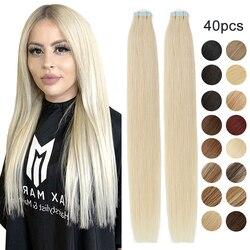 MRSHAIR 40 pièces de ruban adhésif dans les Extensions de cheveux humains 14 16 18 20 22 24 pouces Machine Remy cheveux sur les adhésifs