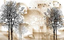 Black and white tree 3D TV background wall  modern living room wallpapers 3d wallpaper