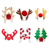 Creative Cute Car Decoration Christmas Tree Candy Cane Christmas Plush Antlers Elk Big Horn Ornament High-quality Soft Ornament