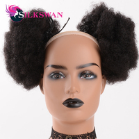 Silkswan Hair Afro Puff ponytail bun extensions 8 inches drawstring adjustable natural color human remy hair for black woman